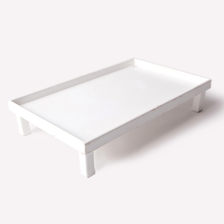 Vassoio rettangolare in legno bianco con gambe ...